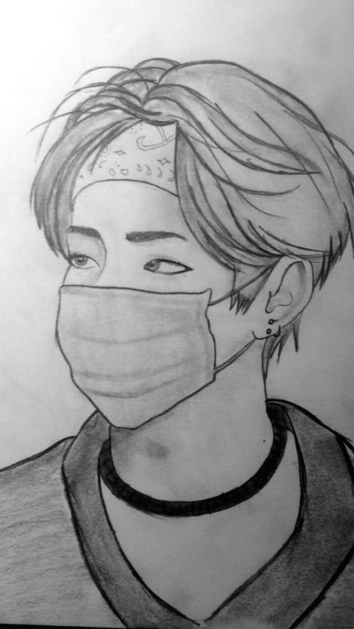 Bts V Easy Drawings Bts Bangtanboys Love Bts V Kimtaehyung Drawing Bts