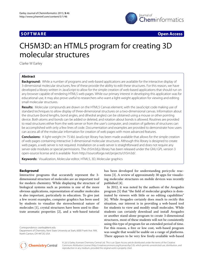 Drawing 3d Molecules Pdf Ch5m3d An HTML5 Program for Creating 3d Molecular Structures