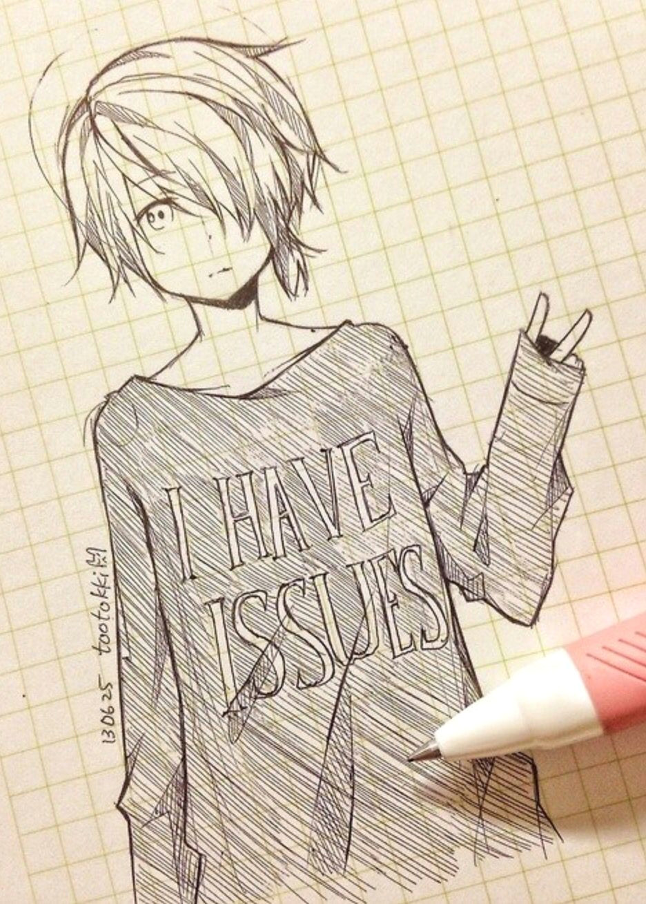 Drawing Anime Hoodies Cute Anime Drawing tootokki I Have issues Sweater Anime Drawings