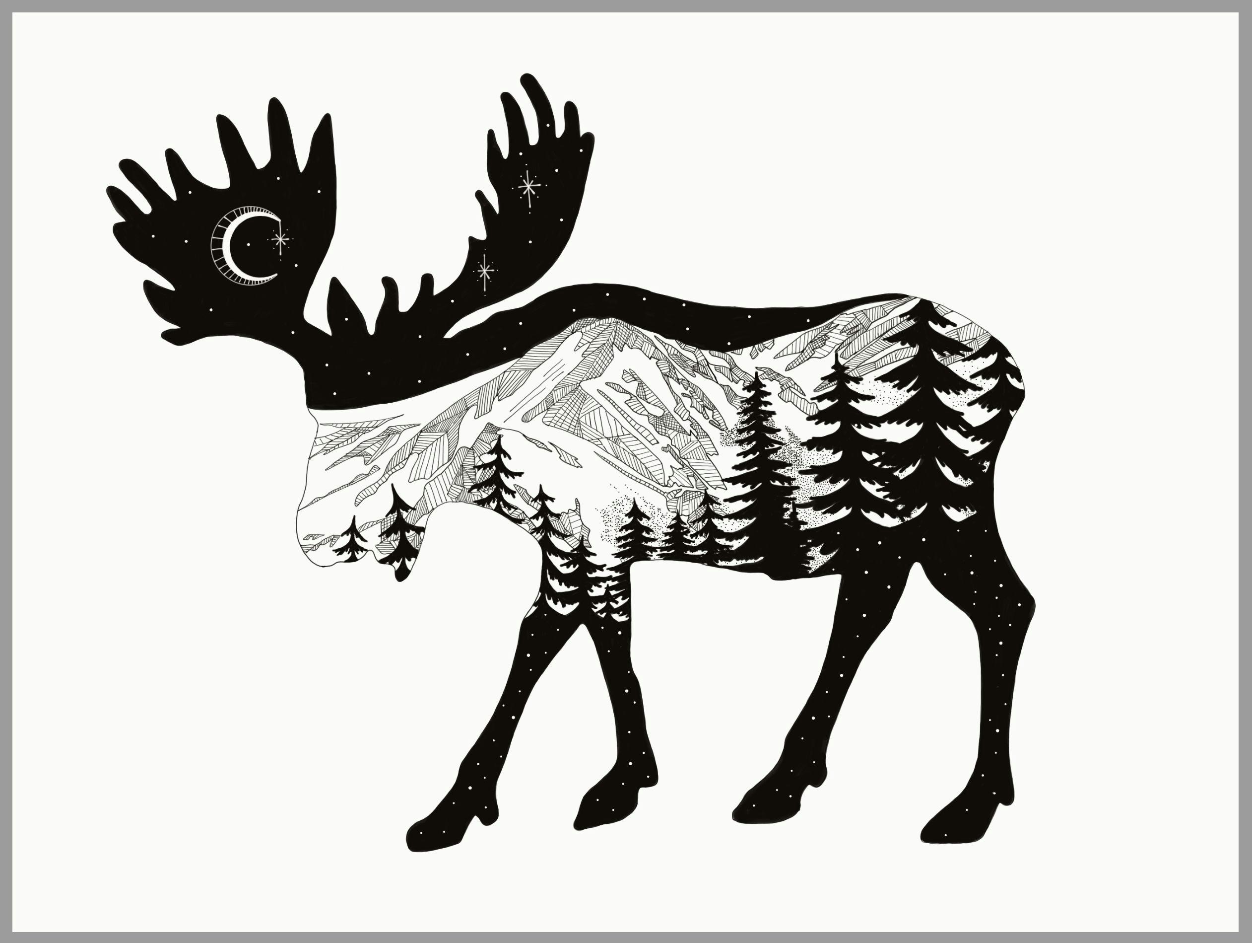 Drawing Cartoon Mountains Moose Mountain Drawing Using Adobe Sketch the Mountain Range is
