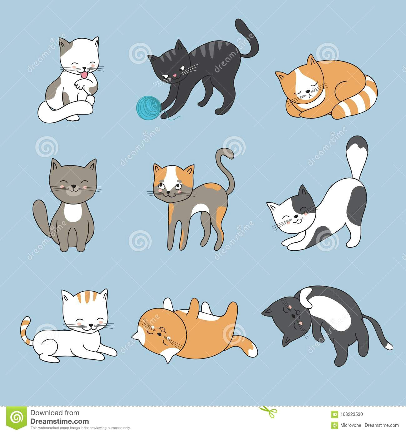 Drawing Cartoon with Illustrator Hand Drawing Cute Cats Vector Kitty Collection Stock Vector