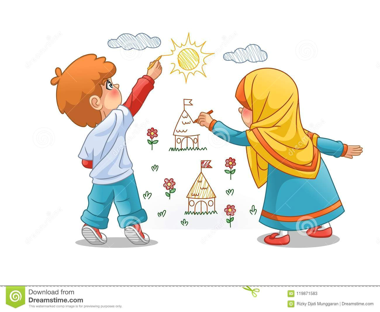 Drawing Cartoons In islam Muslim Girls and Boy Draw Landscapes On the Walls Stock Vector