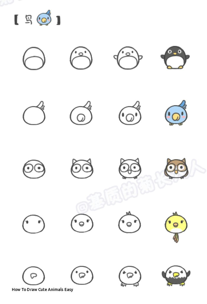 Drawing Cute Animals Step by Step How to Draw Cute Animals Easy Pin Od Poua A Vatea A A Molly forker Na