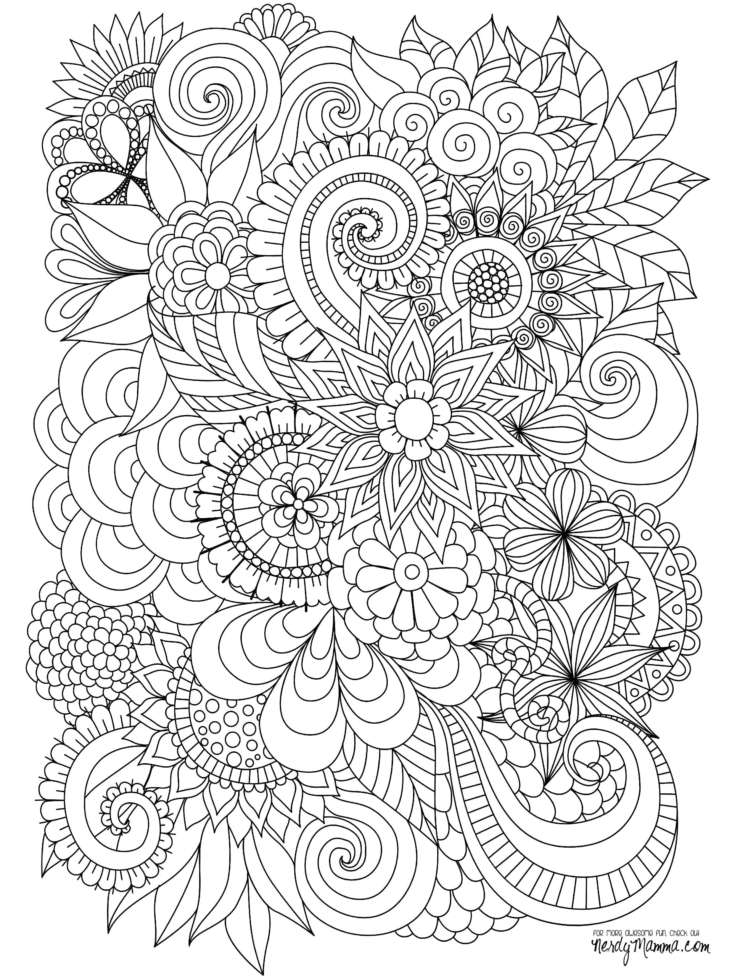 Drawing Detailed Flowers Flowers Abstract Coloring Pages Colouring Adult Detailed Advanced