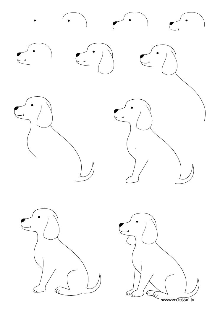 Drawing Dog with Shapes Drawing Animals Step by Step Children Coloring Pages Printable