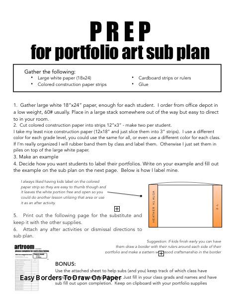Drawing Easy Borders Easy Borders to Draw On Paper Sub Plan Make An Art Portfolio