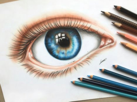 Drawing Eyes Colored Pencil An Eye Colored Pencil Drawing by Polaara Colored Pencil