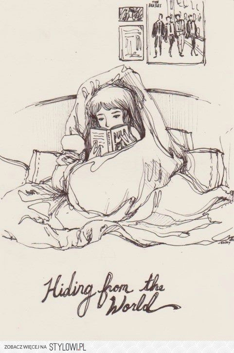 Drawing Girl Reading A Book Nothing Like Reading In Bed to Get Away From It All Sketchbook