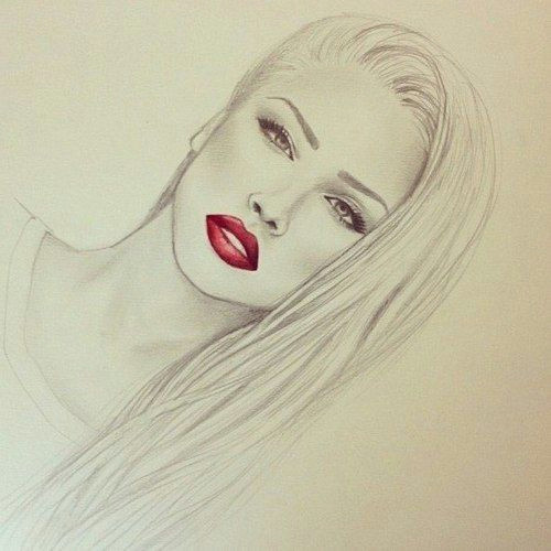 Drawing Hot Eyes Photography Pretty Drawing Art Red Girl Cute Black and White Fashion