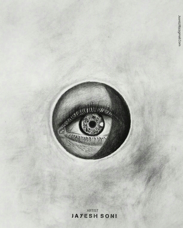 Drawing Mediums Title Realistic Eye Medium Charcoal Size A4 Art by Jayesh
