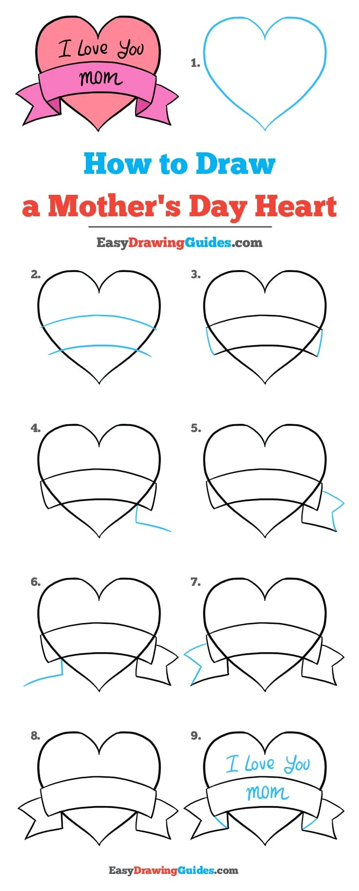 Drawing Ng Heart How to Draw A Mother S Day Heart Really Easy Drawing Tutorial