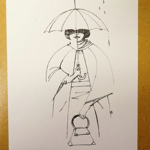 Drawing Of A Girl Holding An Umbrella Girl Holding Umbrella Fineliner On Watercolor Paper Hilbrand Bos
