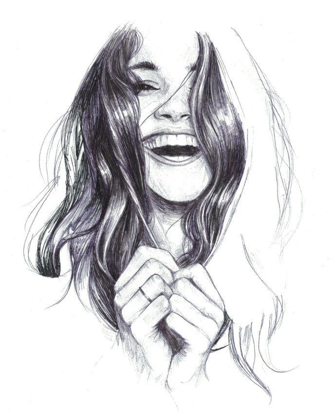 Drawing Of A Girl Laughing Laughing Woman Drawing Pen Doodle Portrait Art Showcase In 2019