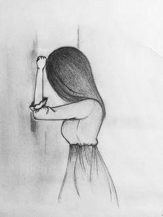 Drawing Of A Girl Turned Around Girl Fashion Dress Drawing Stripes Art Diy Drawings Art