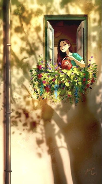 Drawing Of A Girl Watering Plants Water the Plants Life Art Illustration Drawings