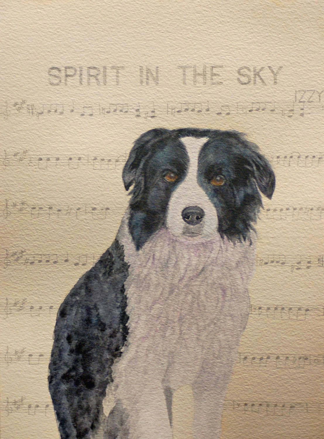 Drawing Of Dancing Dog Izzy Border Collie Via Etsy Border Collies Collie Border