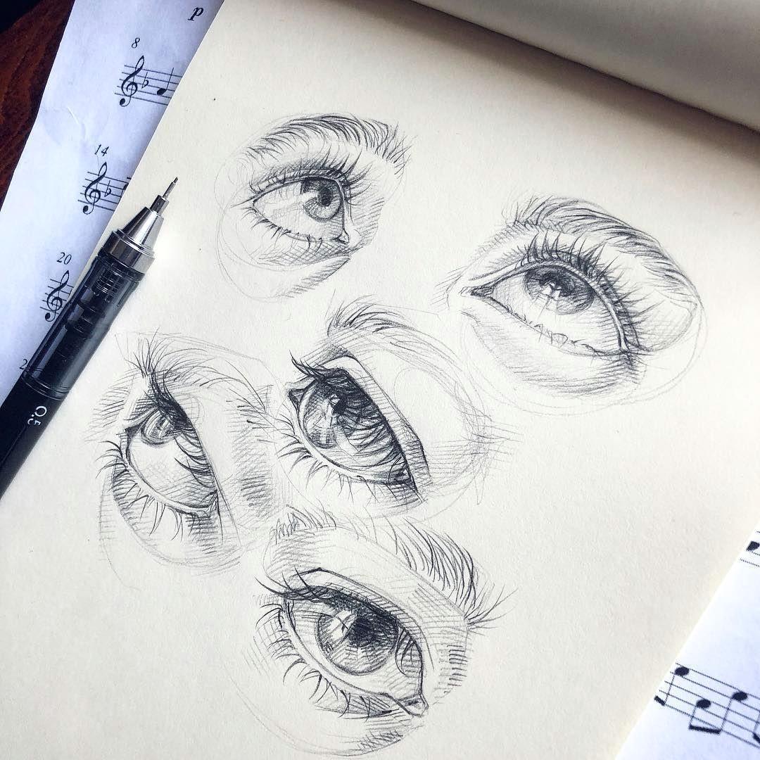 Drawing Of Eyes In Pen Lera Kiryakova Sketch Eyes Art Figurative Realistic Eye