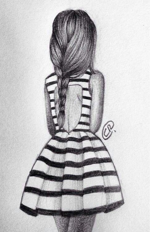 Drawing Of Girl Back Side Girl Fashion Dress Drawing Stripes Art Diy Drawings Art