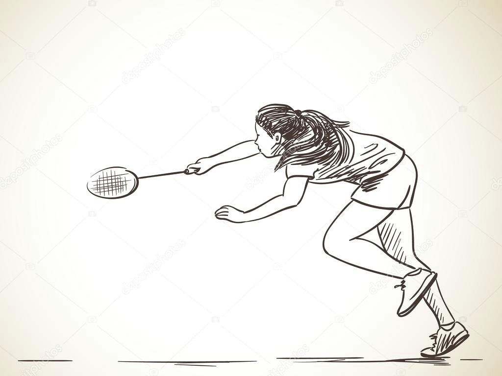 Drawing Of Girl Playing Badminton Sketch Of Woman Playing Badminton Stock Vektor A C Olgatropinina