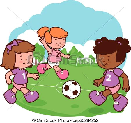 Drawing Of Girl Playing soccer Girls Playing soccer Little Girls Play Football On the Playing Field