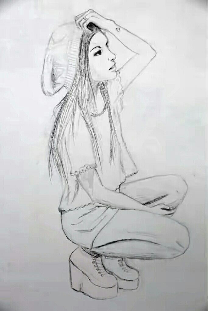 Drawing Of Girl Sitting Drawing Of A Sitting Modern Girl Girl Art Drawing Zeichnen