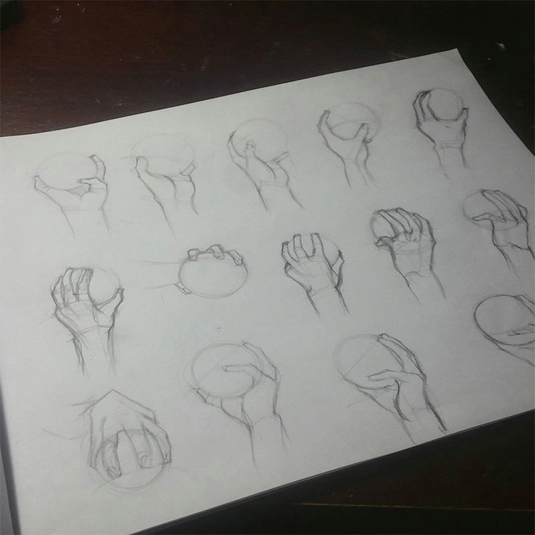 Drawing Of Hands Holding A Ball 100 Drawings Of Hands Quick Sketches Hand Studies