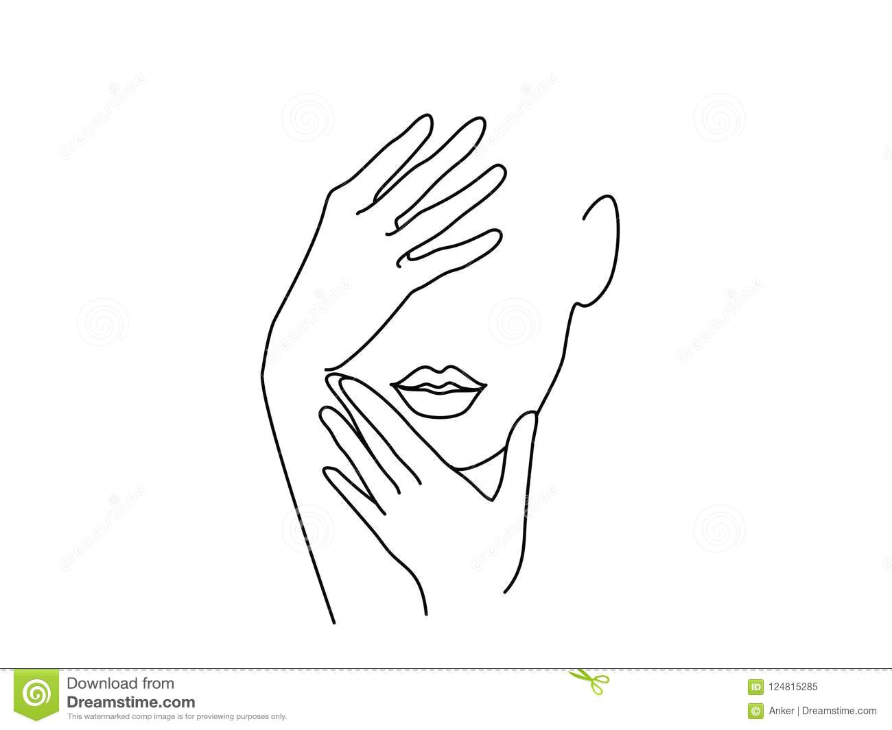 Drawings Of Ladies Hands Line Drawing Art Woman Face with Hands Stock Vector Illustration