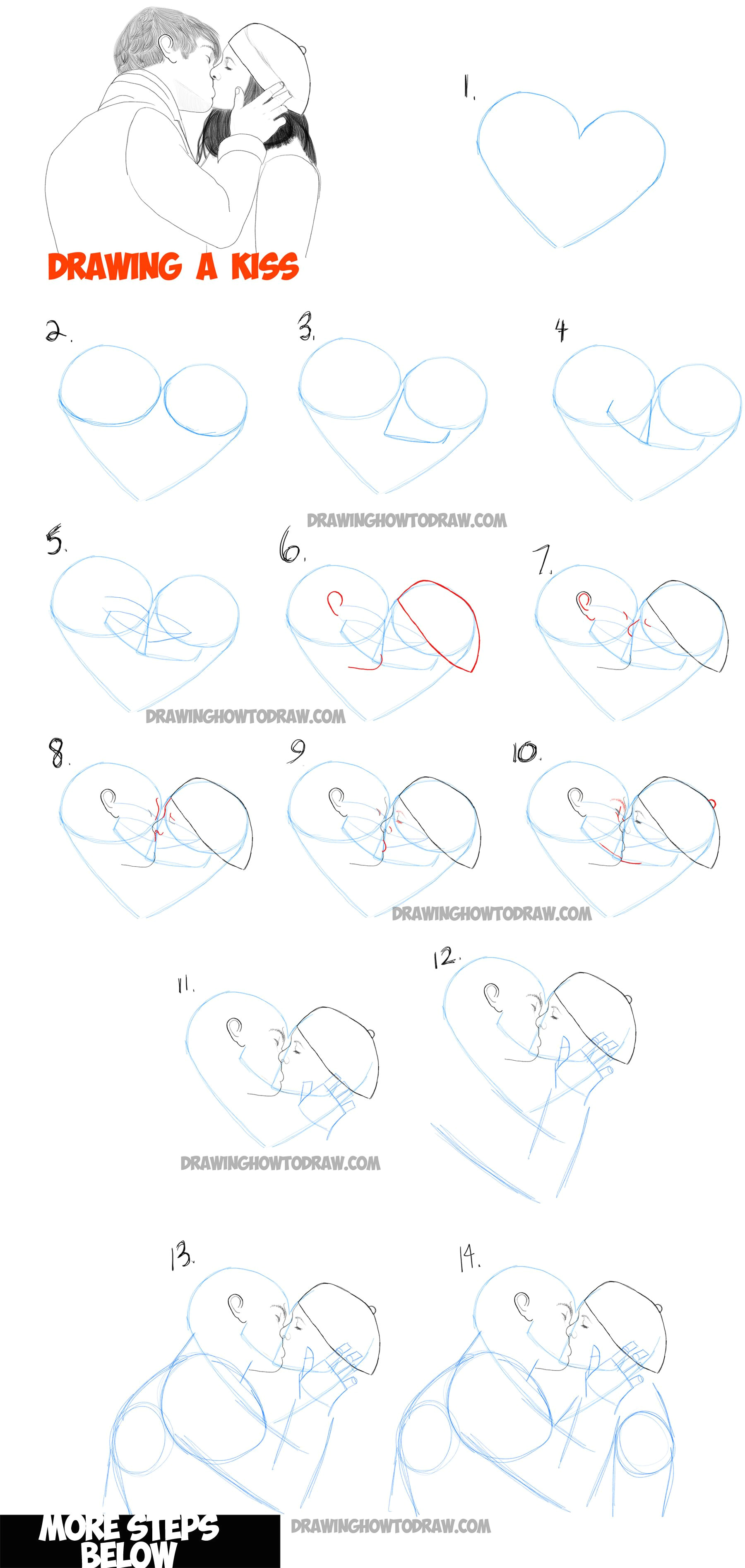Easy Drawing 101 How to Draw Romantic Kisses Between Two Lovers Step by Step