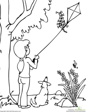 Easy Drawing Kite Color the Kite Flying Scene Kids Paintings Kite Coloring Pages