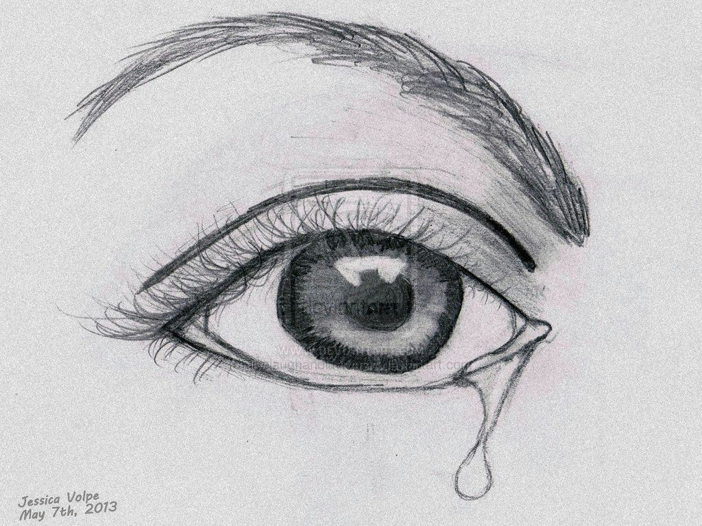 Easy Drawings Of Eyes Crying Crying Eye Sadness Sketch Falling Tears In 2019 Drawings Pencil