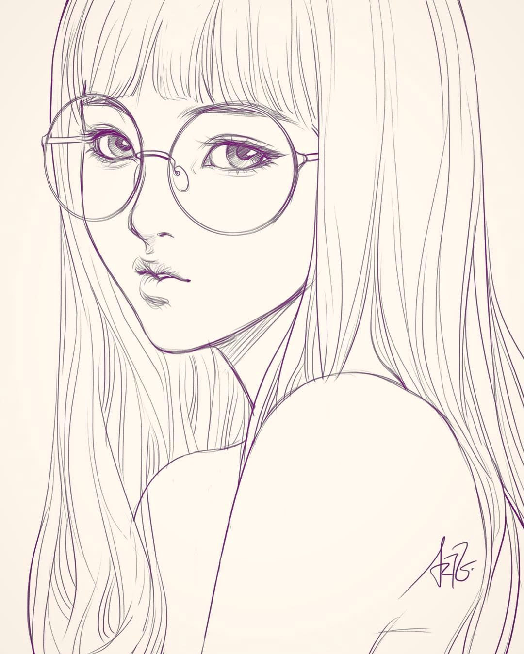 Girl Drawing Night Last Sketch Of Girl with Glasses Having Bad Backache It Hurts