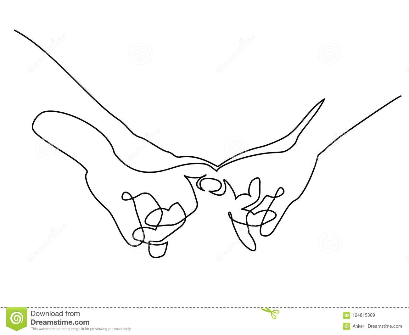 Line Drawing Of Hands Shaking Hands Woman and Man Holding together with Fingers Stock Vector