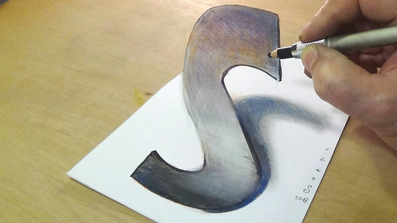 S Drawing 3d Trick Art Drawing How to Draw 3d Letter S Anamorphic Illusion