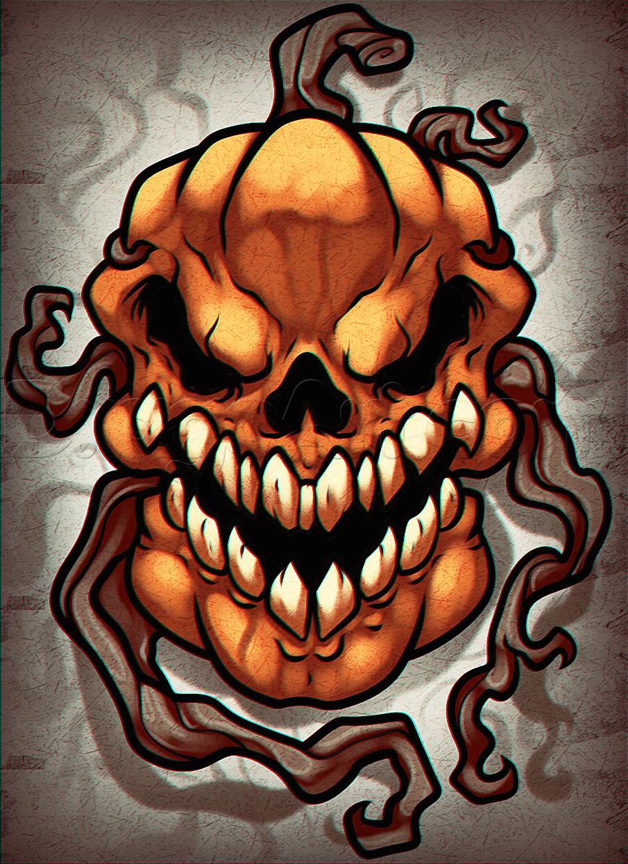 Skull Drawing for Pumpkin How to Draw A Pumpkin Skull Step by Step Halloween Seasonal Free
