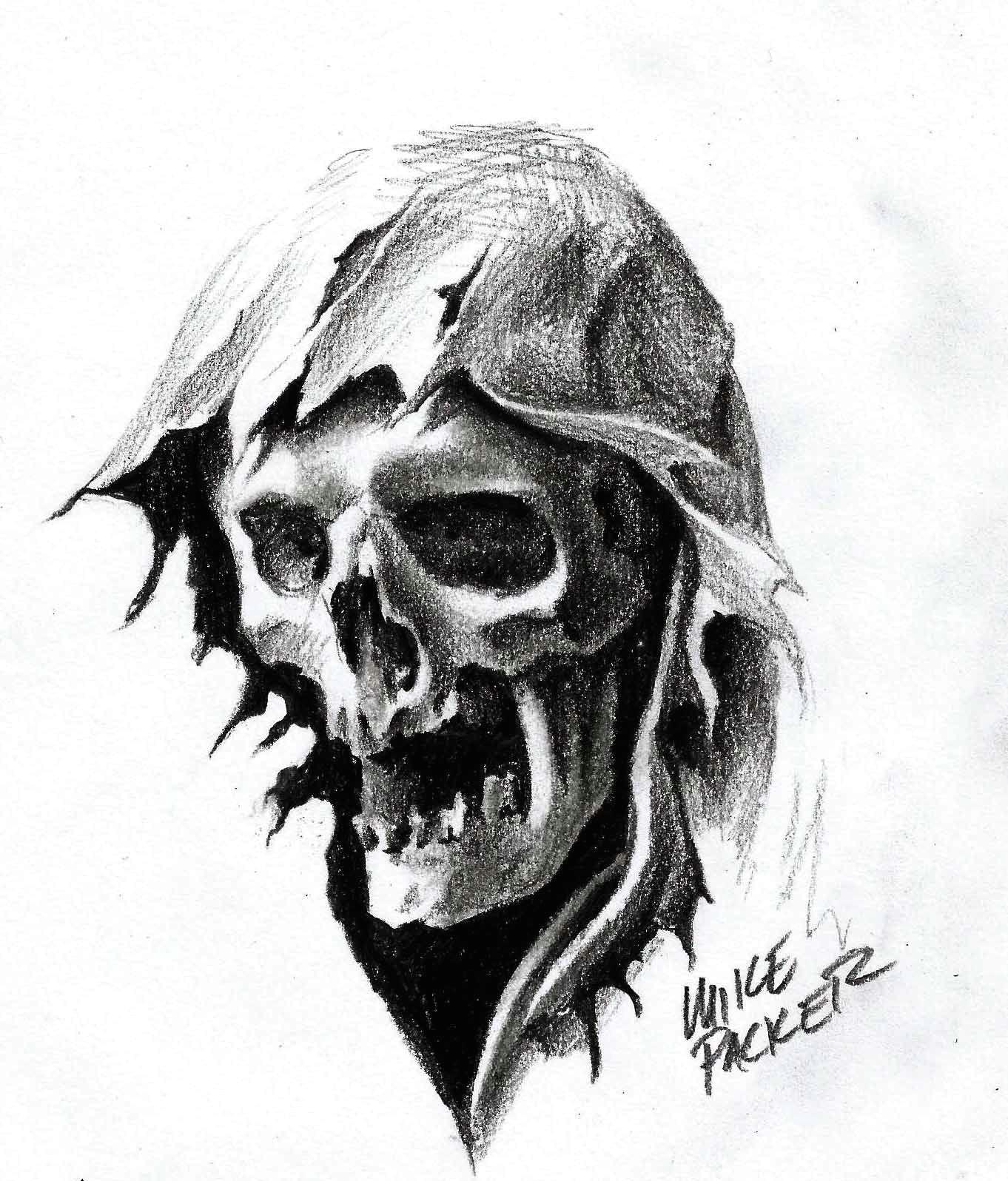 Skull Drawing Grim Reaper Mike Packer Reaper Head Graphite Pencil Art Pinterest