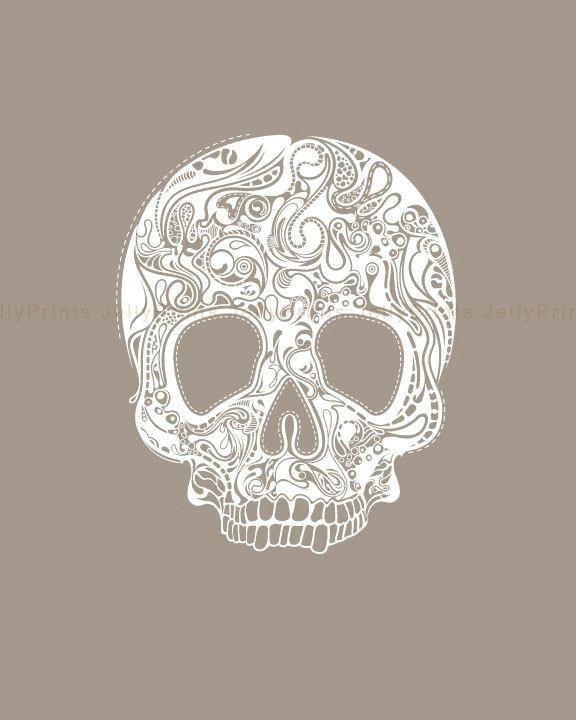 Skull Drawing Small Printable Abstract Head Skull 8 X 10 Print Jp 0031