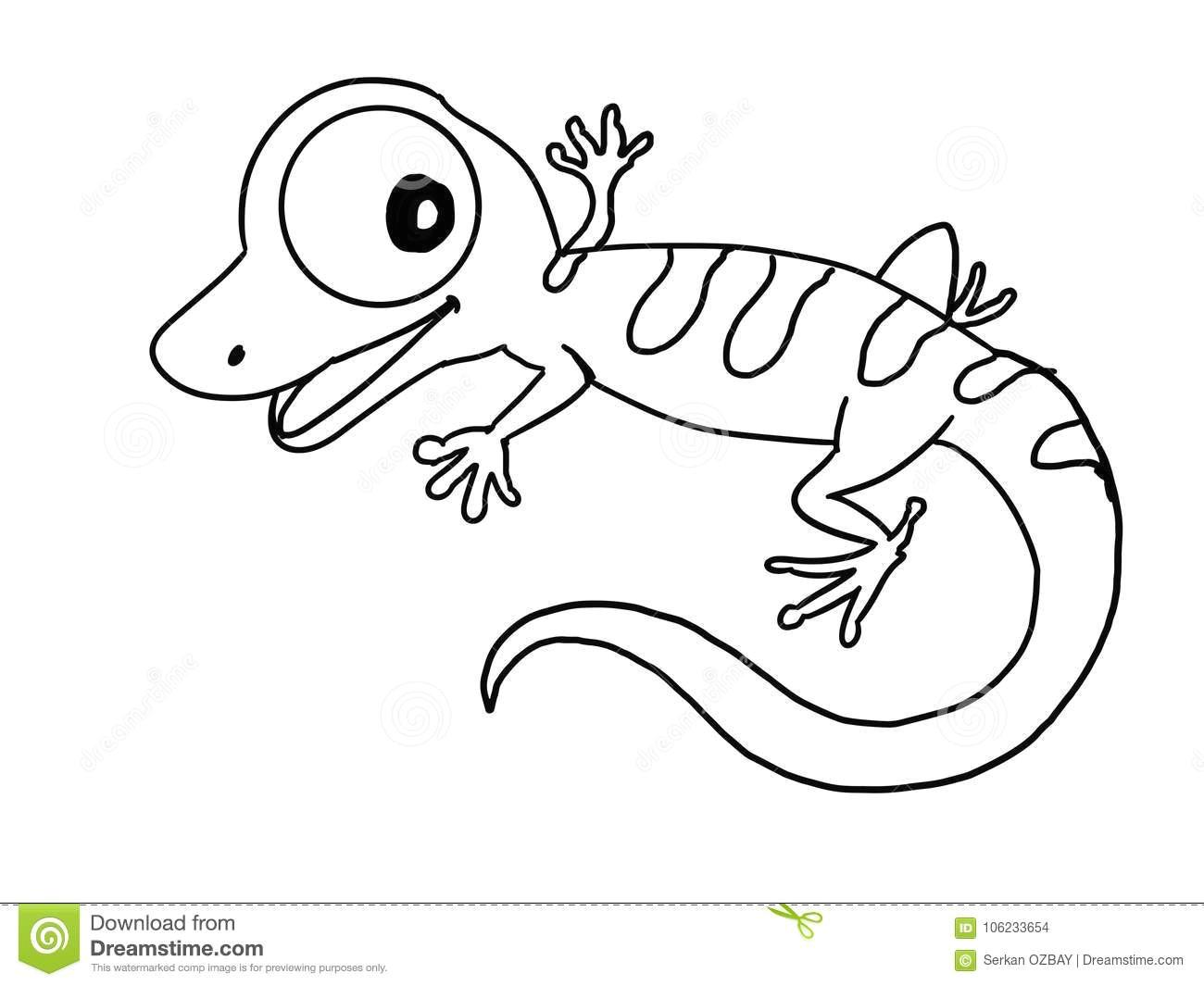 Unduh Drawing Cartoons Cute Lizard Illustration Cartoon Drawing Drawing Illustration White