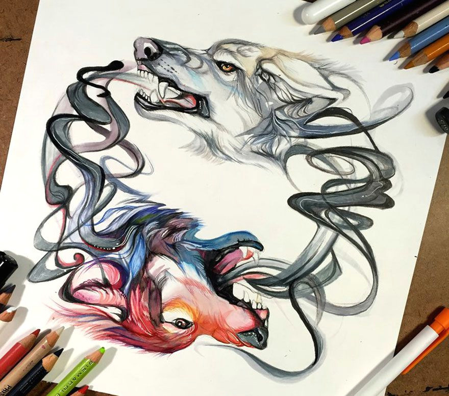 Wolf Drawing Markers Wolf Watercolor Tattoo Tumblr Tattoo Pinterest Sketchbooks