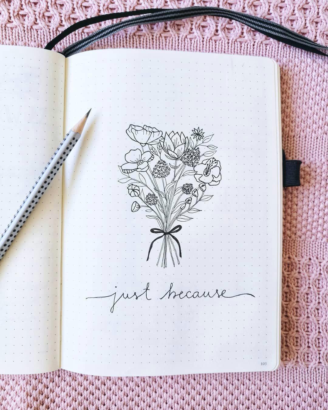 Bullet Journal Drawing Ideas Bullet Journal Drawing Idea Flower Bouquet Drawing