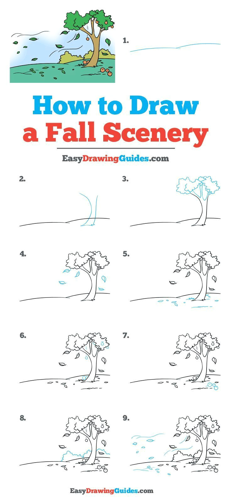 Easy to Draw Fall Pictures How to Draw Fall Scenery Really Easy Drawing Tutorial
