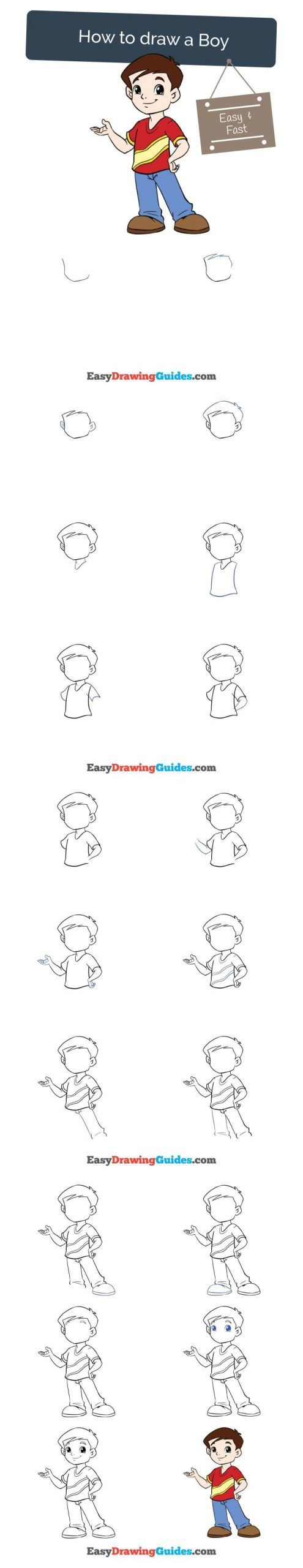 How to Draw A Person Cartoon Easy How to Draw A Boy Drawing Tutorials for Kids Easy