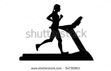 Treadmill Drawing Easy Silhouette Of Woman Running On Treadmill Running Women