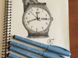 0 and 1 Drawing Swiss Swatch Drawing Made Using Centropen Graphic Ink Pen Liners 0 1