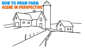 3 Dimensional Drawing Easy How to Draw Farm Scene Fall Spring Scene In Three Point