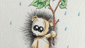 Baby Cute Animal Drawings Hedgehog Illustration Apredart Drawings Rain Animals