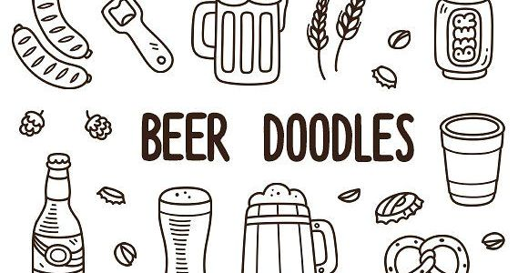 Beer Drawing Easy Vector Beer Doodles by Irina Mir On Creativemarket