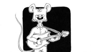 Cartoon Drawing Guitar original Drawing Of A Guitarist Mouse Black and White Ink Etsy