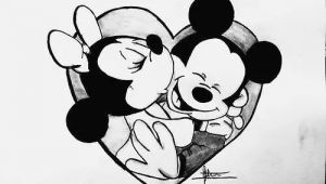 Cartoon Drawing Of A Rose Cartoon Cute Disney Draw Love Mickey Minnie Rose I Love You