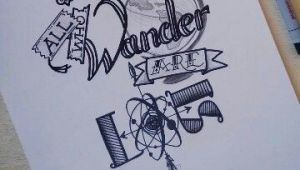 Cartoon Drawing Quotes Not All who Wander are Lost Drawing Typography Instagram Quote