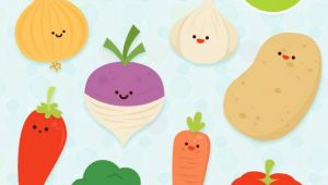 Cartoon Drawing Vegetables Veg Clipart Commercial Use Cute Vector Educational Art by